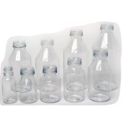 Frascos de plástico y vidrio